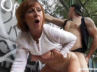 Adult dame is gargling sausage in a public place with the addition of getting poked rigid, in comeback
