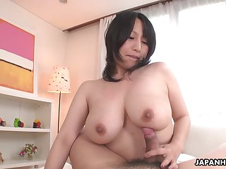 Big breasted Japanese babe Yuna Hoshizaki rides flannel in POV