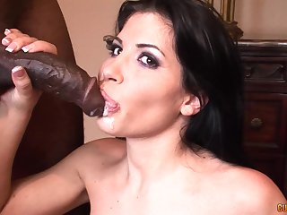 Seductive brunette Latina Rebeca Linares swallows a menacing guys saddle with