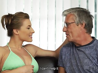 Nice intimacy of oldman together with 18yo unsubtle ends with cumshot