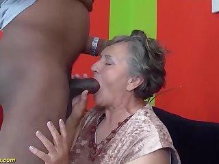 my chubby hairy bush grandma enjoys her foremost big gloomy bushwa interracial porn lesson