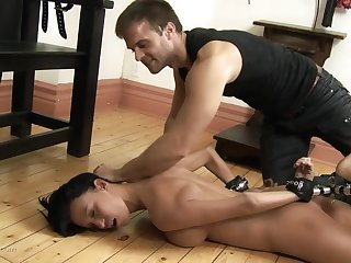Hard sloppy deep throat and cum on tits be proper of a submissive brunette slut