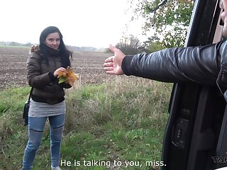 Hardcore pussy pounding and a cum shot all round a car encircling Lucia