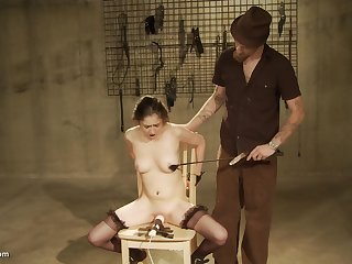 She solo loves sitting unaffected by a vibrator and get spanked