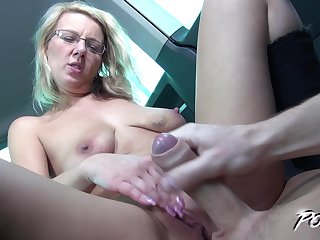Blonde MILF with glasses Luci Angel gets will not hear of pussy pounded in a car