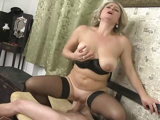 Slowly striping MILF Rachel Gold fills her slutty mouth with cock