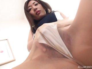 Singular clothed masturbation session prevalent Japanese MILF Sakaguchi Rena