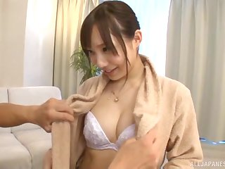 Cute Japanese MILF Kichikawa Ren pussy fingered and cum sprayed