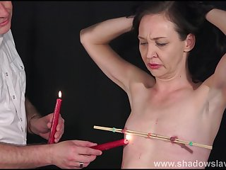 Candle dilate bdsm and obedience slave grounding be incumbent on full-grown submissive in nipple pain and pussy punishments