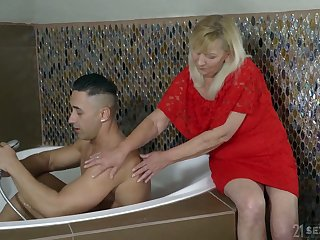 Blond filthy granny Irene has an affair with young handsome neighbor