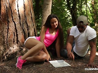 Long haired horny teen infant Monica Brown pounded off out of one's mind a black dude