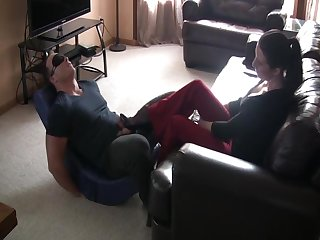 Very sensual foot dom, plus ballbusting by classy lady