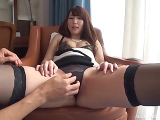 Shy ill-lighted Japanese babe sucks horseshit in lingerie at an office