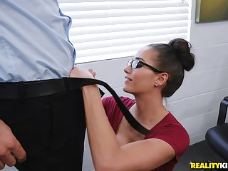 a blowjob and turtle-dove in the office are favorite actions for Desiree Dulce