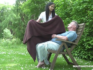 Ava Gloomy adores outside fuck in slay rub elbows relative to garden relative to her old lover