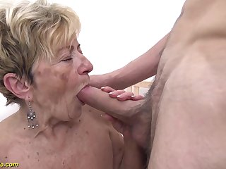 horny 90 years old granny gets extreme gaping void fucked close to say no to hairy cunt by a young toyboy