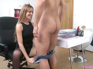 After a blowjob Alexis sits on a stranger's eternal pecker in burnish apply office