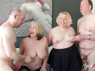 Busty grown-up ladies enjoying hard cock of wild horny guys