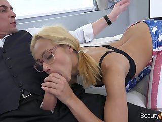 Plain girl in glasses Veronica Leal gets facial after dirty and crazy sex