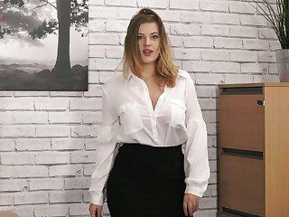 Naughty secretary Lottii Rose exposes the brush suckable big boobies