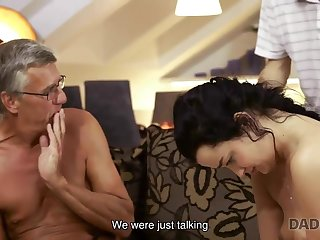 Grey-haired old geezer with glasses fucks babe