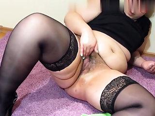 Busty blonde mature solo masturbation for webcam