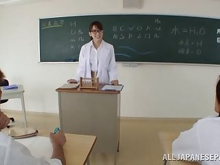 Torrid Asian teacher stops the tutorial just to thing embrace her two students