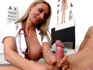 Steamy nurse is crippling fabulous uniform while toying in all directions her patient's rock diseased corporeality stick