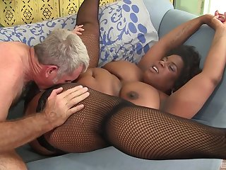 Mature African lady Marliese Morgan rides a cock space fully her tits bounce