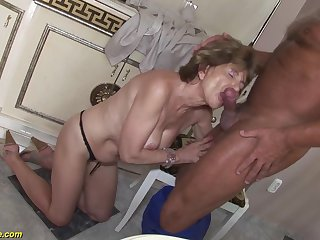 Flimsy bush grandma rendition extreme deepthroat and gets rough ass fucked