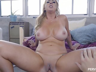 Young lad stick performed cock in mommy's cramped vag