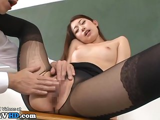 Japanese teacher on every side pantyhose pounded on every side classroom