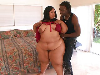 BBW ebony wants the young man's huge dong in both holes