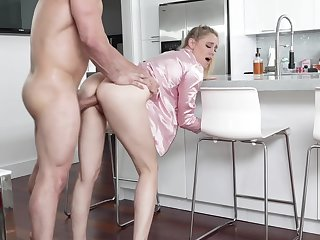 Hot uncle's wife in pajama Addie Andrews offers yourself in the kitchen