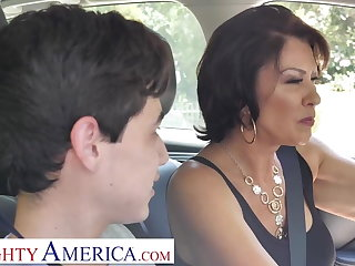 Mature stepmom teach stepson to make please