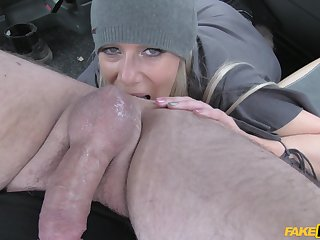 Naughty blonde cougar Sasha Steele sucks and rides in the taxi