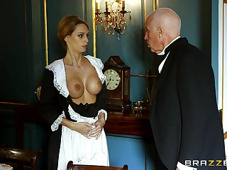 Blonde maid strips for the master of the house less an increment of gets laid less him