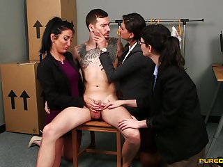 Lad grants these babes the big dick for their CFNM desires