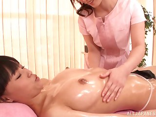 Oiled Japanese hottie gets their way cunt licked by Fuuka Nanasaki