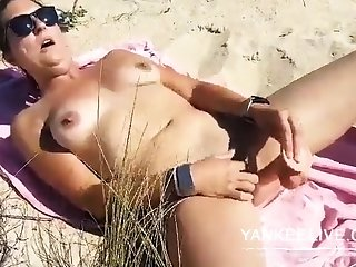 She's wanking upstairs an obstacle beach